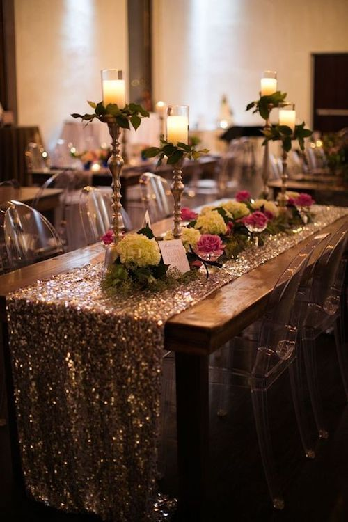 Sequins are on trend and this gold and navy wedding reception rocks them to perfection.