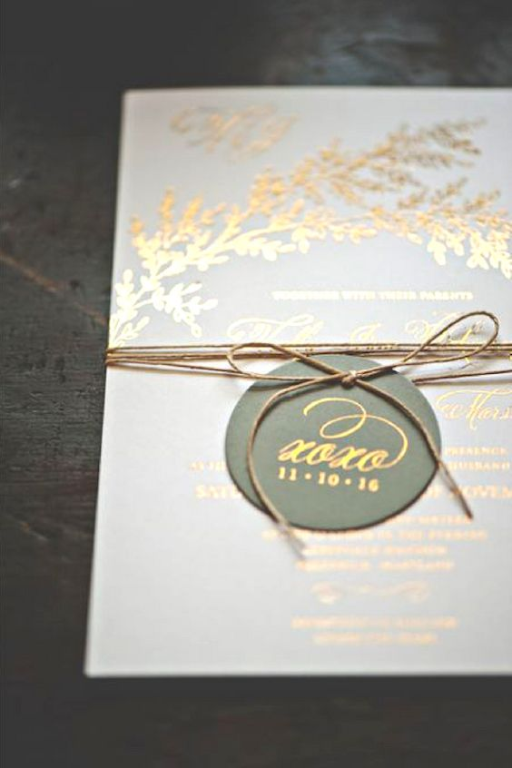 Dreamy, simple and timeless gold foil wedding invitations by Smitten On Paper.