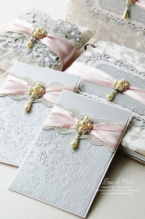 Vintage monogram embossed luxury lace gray and pink wedding stationery.