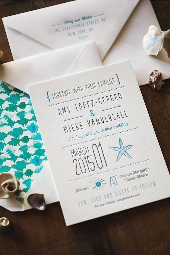 Classic letterpress sea-side wedding invitation.