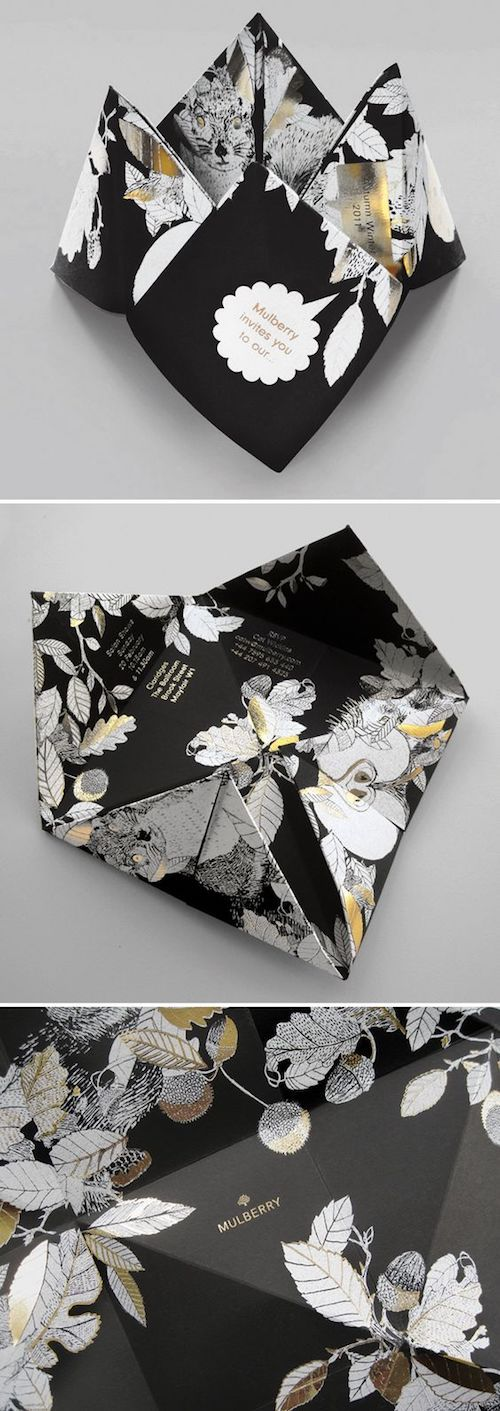 Swoon and double swoon! Dark floral luxury wedding invitation origami inspired by Mulberry.