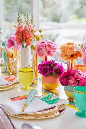 A modern twist on boho, filled with snatched pops of color. Absolutely beautiful wedding table decor.