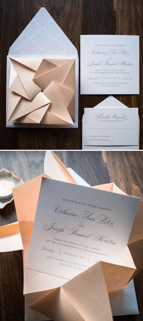 I always say it's all about the envelope. This blush origami could be your perfect wedding invitation. Definitely on point by Penn and Paperie.