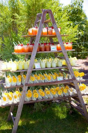 Fab and simple way of displaying drinks for your outdoor wedding reception.