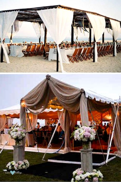 Gorgeous ideas for your outdoor tented reception. Be protected from the sun and the wind while enjoying the ocean view.