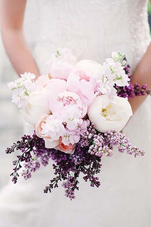 Soft pink and purple wedding bouquets via stephanie pool.