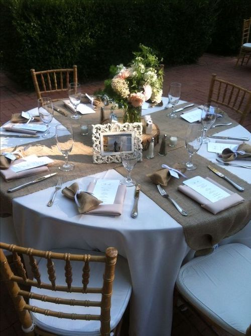 Round table runner ideas. X marks the spot for the centerpiece.