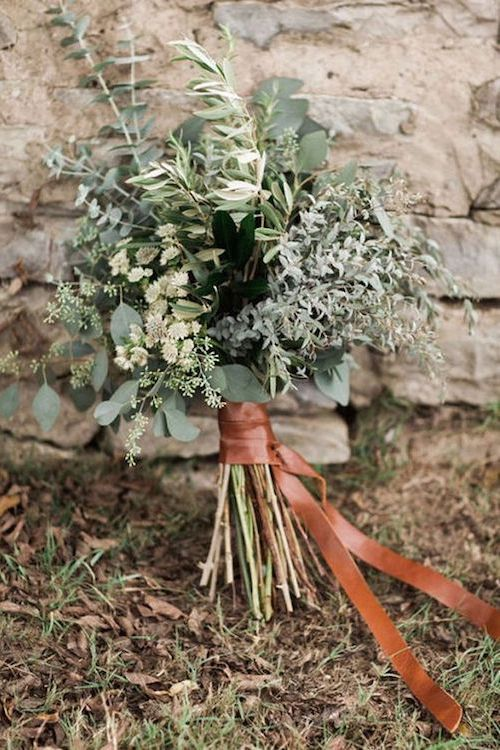 Eucalyptus and herbs rustic chic bouquet.