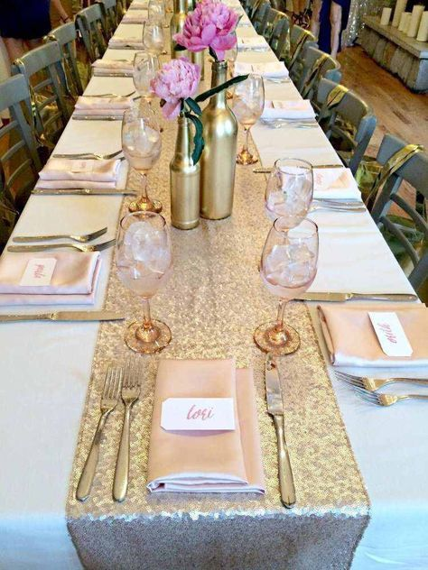 A beautiful sequin table runner shimmers with its own light.