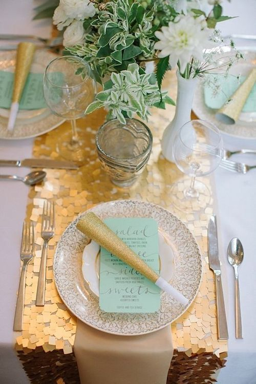 Sequin table runners are a jaw dropping table accessory that resemble a work of art. Hadley's Court.