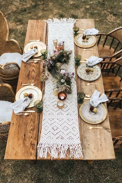 Short macrame runner for an intimate boho wedding. Gallivan Photo.