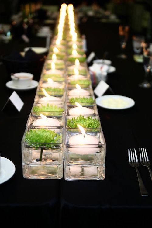 Candles and Bonsai. Table runner ideas that raise the roof.