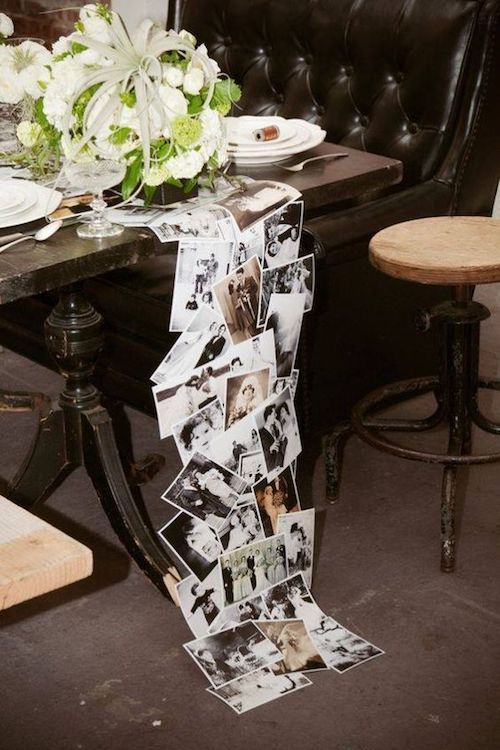 How cool is this?! A table runner made out of old family photos. Make copies and laminate them so you don't damage the originals. Julia Seiler photography.