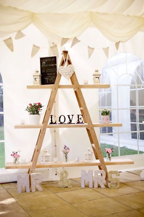 Top wooden ladder wedding decor ideas to diys fast chic for Decor ladder house