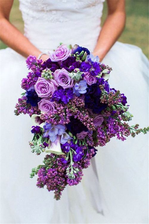 Ultra violet cascading bridal bouquet.