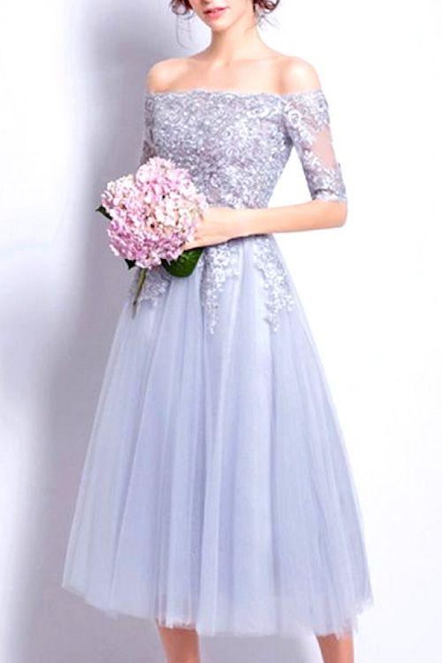 El lila es el color más hot esta temporada. Y este vestido con línea A y falda de tul es ideal para el civil. Gemgrace.