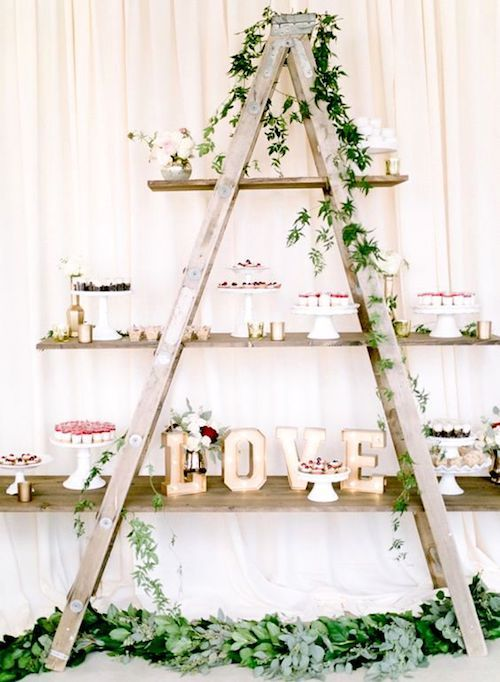 Green and gold vintage dessert ladder. Remember to nail the shelves to the ladder steps!