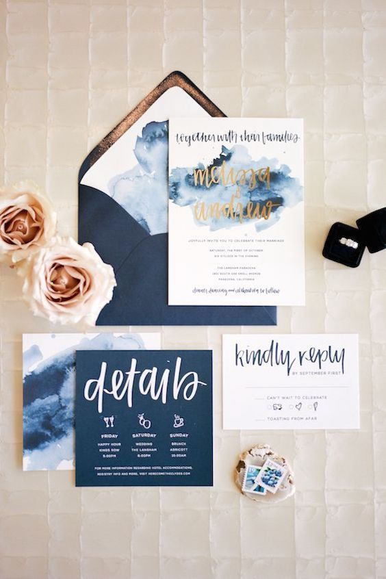 Gorgeous watercolor invites for a Pasadena wedding. Anna Delores Photography & Invitations by Song and Pen.