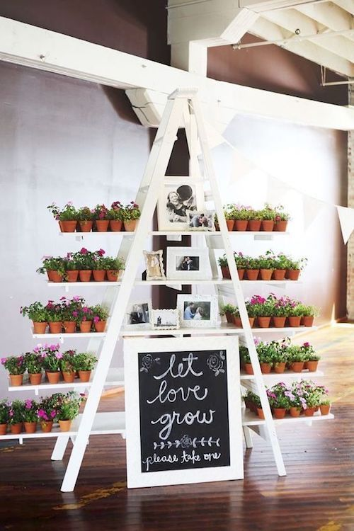 Let love grow at each of your guest's homes. Wedding favor ladder stand.
