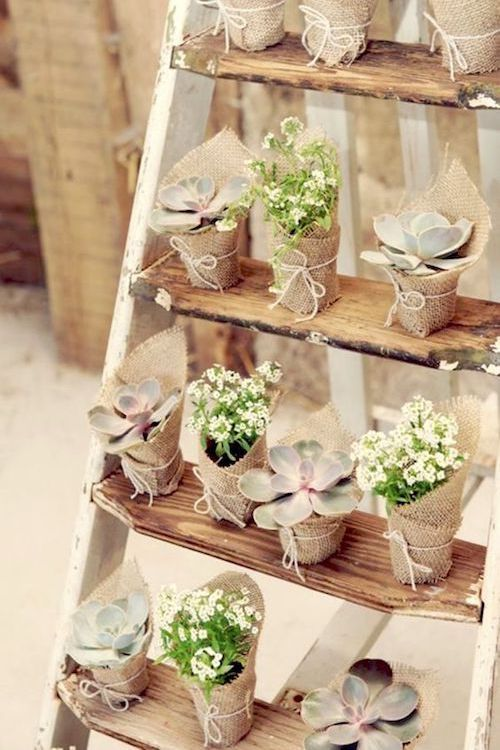 A vintage ladder for your wedding favors. Adorable, amiright?