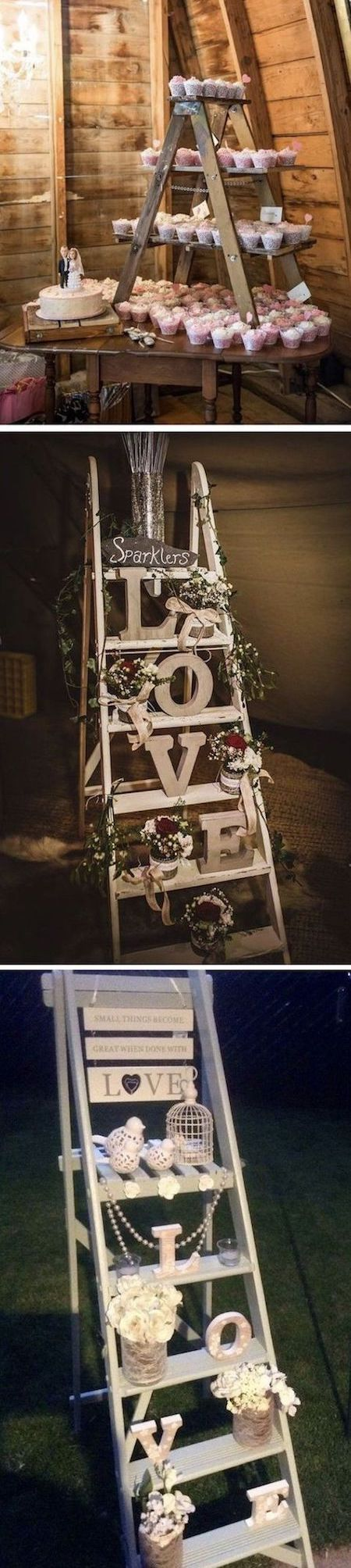 If your wedding budget is a bit tight, consider decorating with ladders as they are both cost-effective and their look totally rocks!
