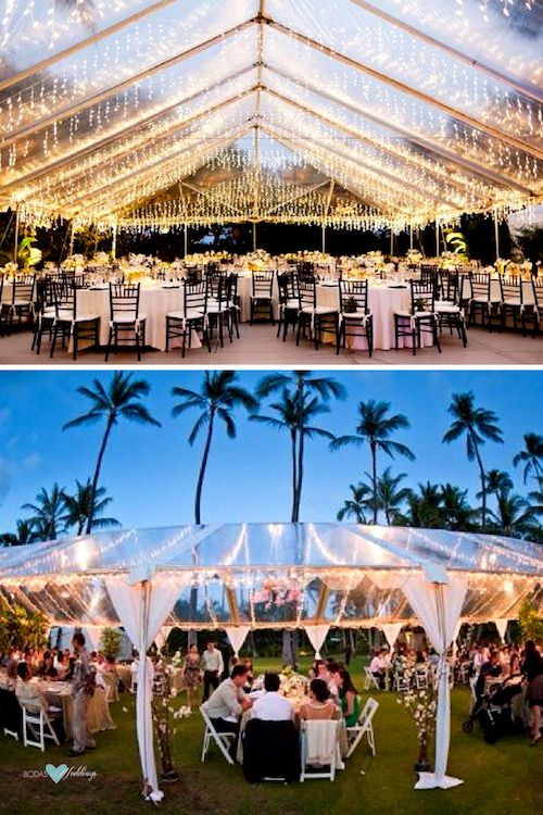Wedding tent decor ideas from South Florida. Top photo: The Raleigh Miami Beach Reception Venue.