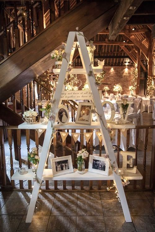 Winter barn wedding ladder decor ideas.