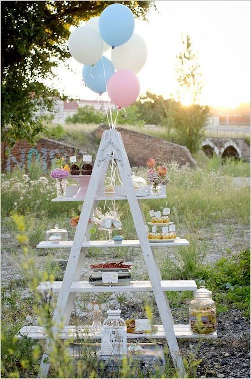 Turn an old wooden ladder into your candy bar.