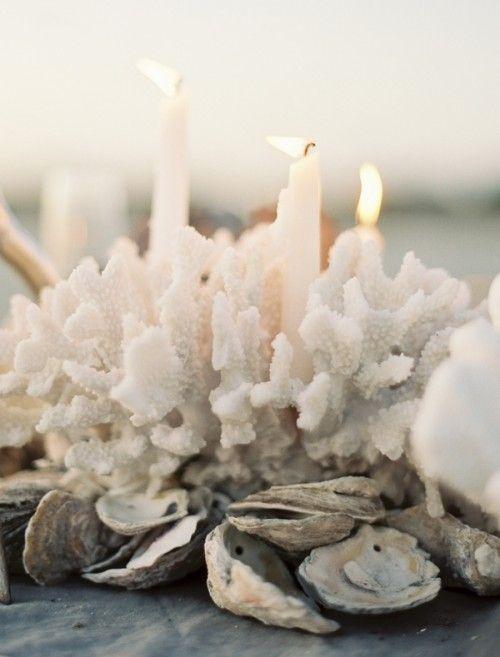 Coral blanco, velas y ostras de mar para un centro original de boda en la playa.
