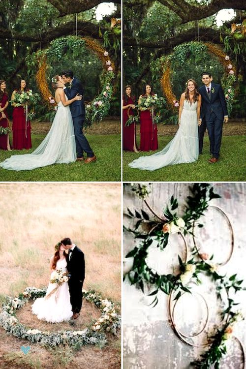 How to make giant wedding wreaths on a budget.