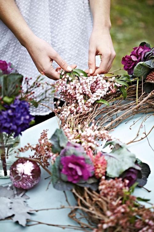 Instructions for making a giant wedding wreath on a budget.