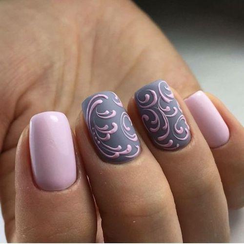 Lilac and gray nail art design.