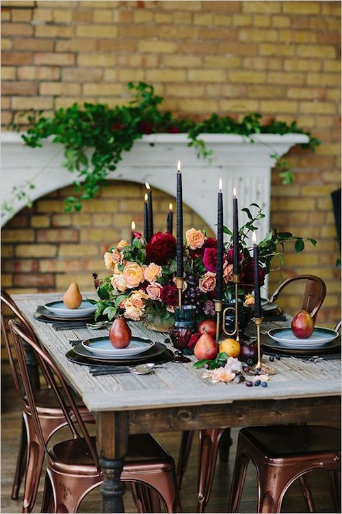 Navy blue candles, copper, brass, red and peach tones for deep and luxurious fall ideas.
