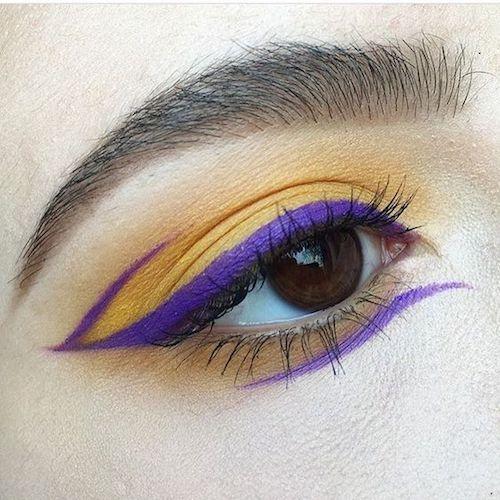 Maquillaje de ojos en amarillo Gen Z y ultravioleta.
