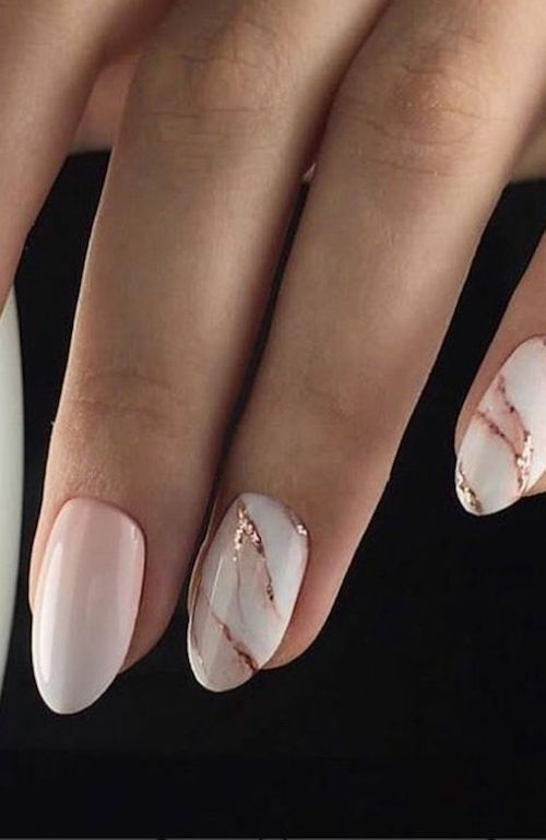 Marble is so 2018 and a bride with this nail art design will be absolutely fire.