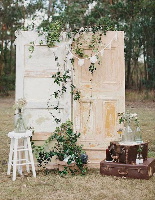 Dark greens contrasting with whites creams and browns for a vintage bash.
