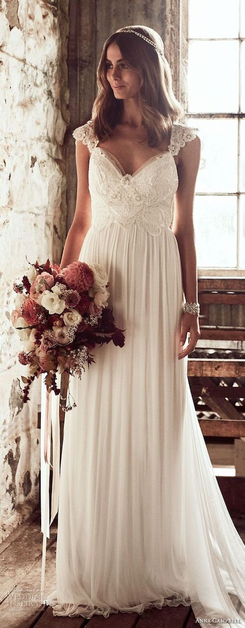 Spring bridal bouquet accompany this romantic Anna Campbell dress with cap sleeves and embellished bodice.