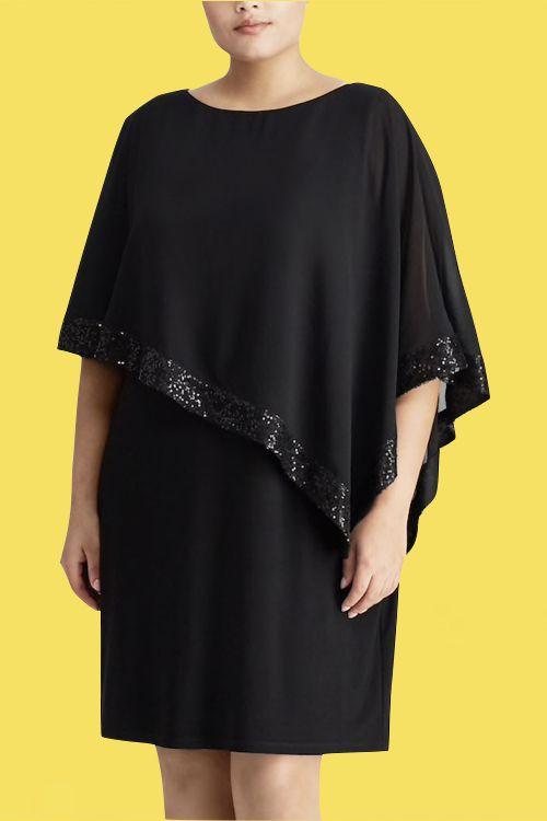 Un borde de lentejuelas suma brillo y clase a este vestido negro de kohls.