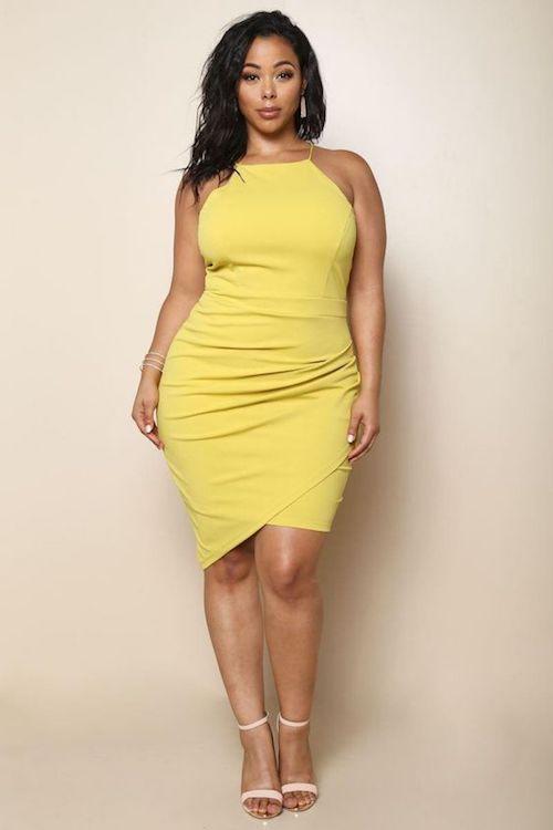 Vestido midi en amarillo Gen Z para la noche.