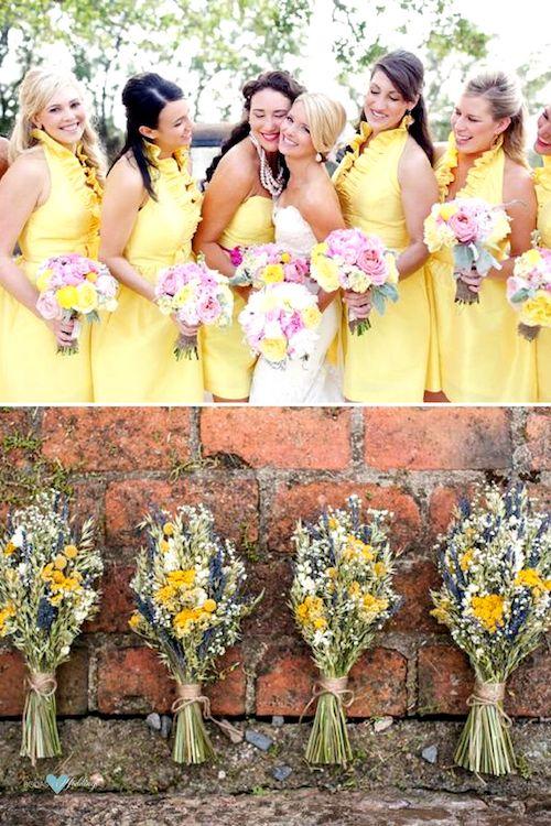 Vestidos de damas de honor en amarillo combinado con un lila caprichoso y muy veraniego de elizabetanndesigns. Ramos de flores secas de eleanor jane weddings, Monmouth Stonemill en Gales.