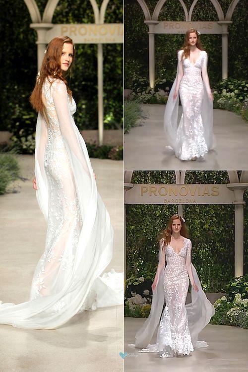 """Con los vestidos para novias de la colección 2019 de Pronovias querrás casarte ya. Este es Calas de """"In Bloom"""" Crédito foto: BBFW."""