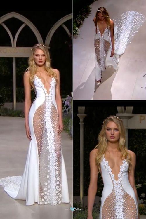 Cassandra es el impresionante vestido de novia que inicia el desfile de Pronovias 2019 en el Barcelona Bridal Fashion Week. Comenzamos con tules, escotes de vértigo, flores en 3d con plateado y colas catedral, todo con una cadencia perfecta de movimiento.