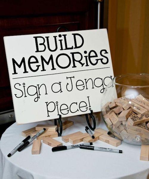 Love this DIY Jenga guestbook wedding idea.