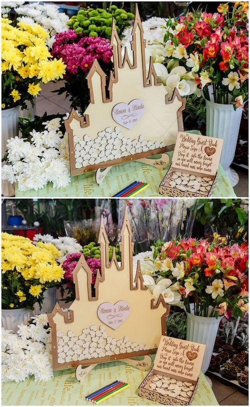 Disney wedding guest book alternative with the cutest box and castle ever.