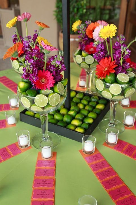 Refreshing limes and colorful Gerbera daisies for a Mexican-themed reception.
