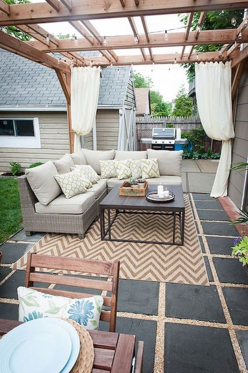 Bring some furniture outdoor for a TD backyard wedding lounge area.
