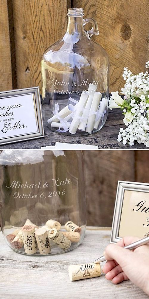 Let your guests drop their well wishes into a glass jug as an alternative guest book idea by my wedding reception ideas.