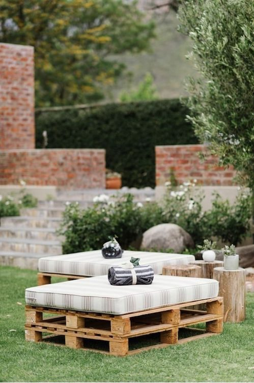 Do away with the chairs and try these alternative seating ideas for your backyard wedding. Photo: Yolanda Marx.