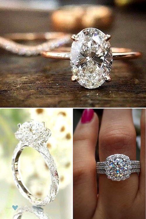 Anillo de compromiso solitario de diamantes, talla ovalada simple y minimalista. Nos encantan los anillos tipo halo.