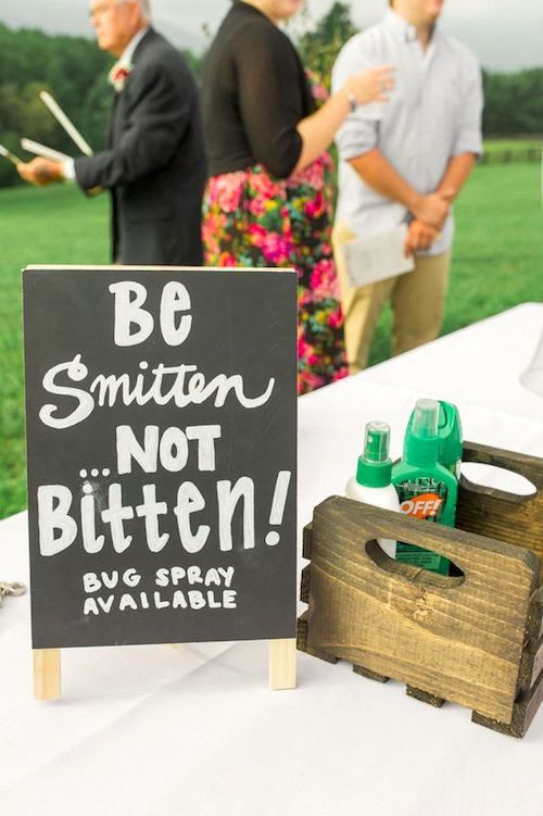 This is one of the best welcome wedding signs your guests will see alongside an all natural bug spray table like citronella or lavender!